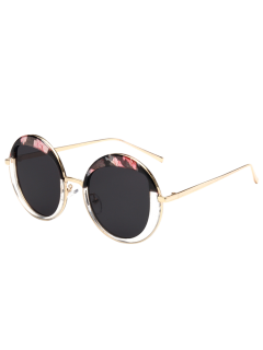 Round Metallic Sunglasses - Black Flower