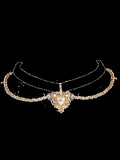 Collar Gargantilla Del Corazón Del Amor De La Perla De Faux - Negro