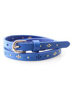 Tachonado Cinturón De Cuero Flaca - Azul Claro