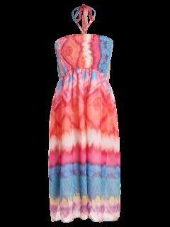 Smocked Halter Printed Chiffon Holiday Dress - Pink