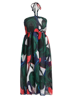 Smocked Halter Printed Chiffon Holiday Dress - Green