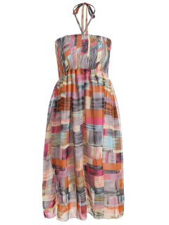 Smocked Halter Printed Chiffon Holiday Dress - Gray