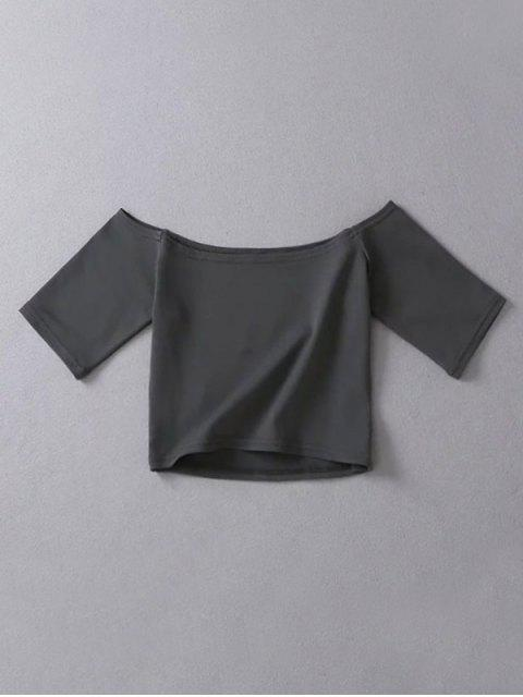 best Cropped Off The Shoulder Top - DEEP GRAY ONE SIZE Mobile