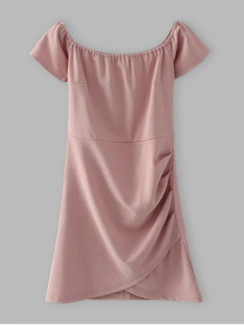 hot Off Shoulder Ruched Bodycon Dress - SHALLOW PINK S Mobile