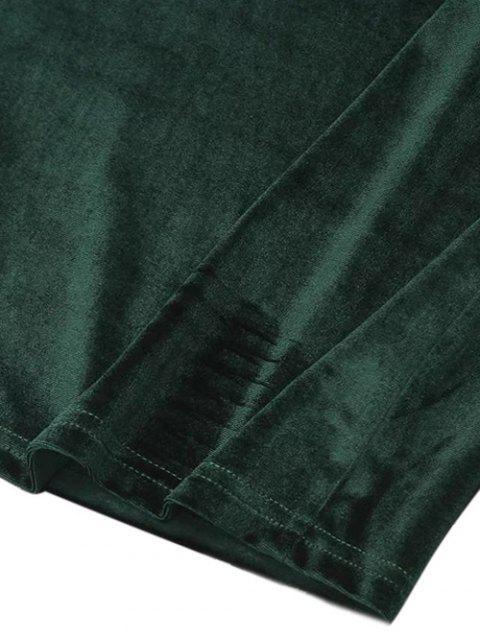 online Ruffles Cruched Velvet Bodycon Dress - BLACK M Mobile
