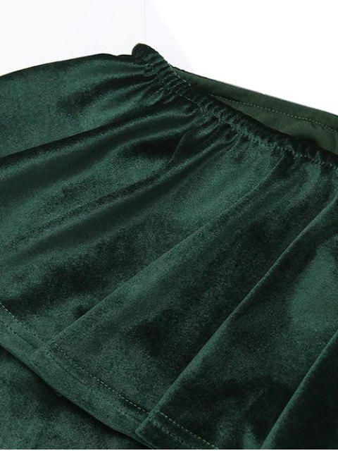 outfits Ruffles Cruched Velvet Bodycon Dress - BLACKISH GREEN M Mobile