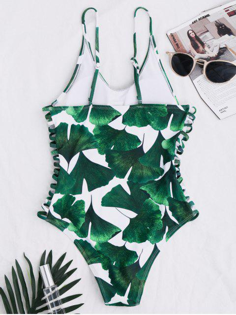 hot Lace Up Tropical Print Swimwear - GREEN S Mobile