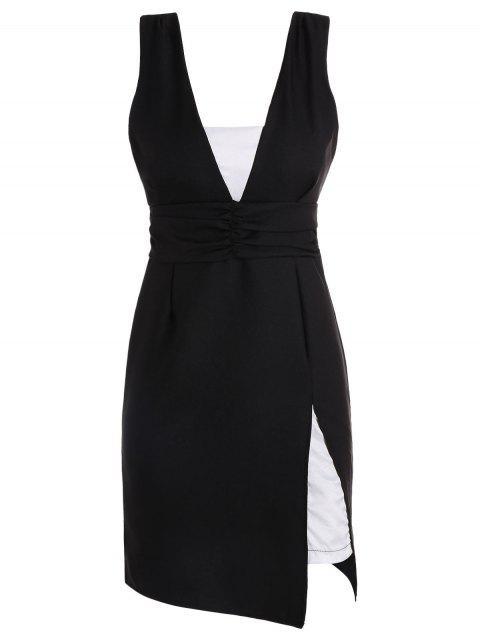 Charming Tauchen Ansatz Color Block Open Back ärmel Kleid für Frauen - Schwarz Einheitsgröße(Geeign Mobile