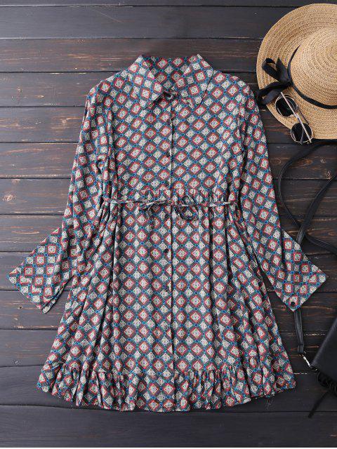 outfit Button Up Argyle Tunic Shirt Dress - BLUE L Mobile