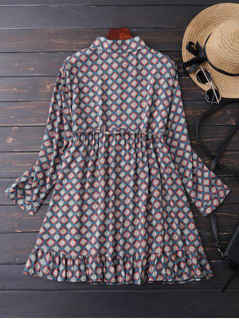 outfit Button Up Argyle Tunic Shirt Dress - BLUE L Mobile