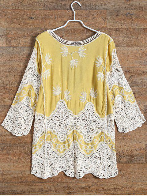 outfit Plunging Neck Crochet Panel Blouse - YELLOW ONE SIZE Mobile