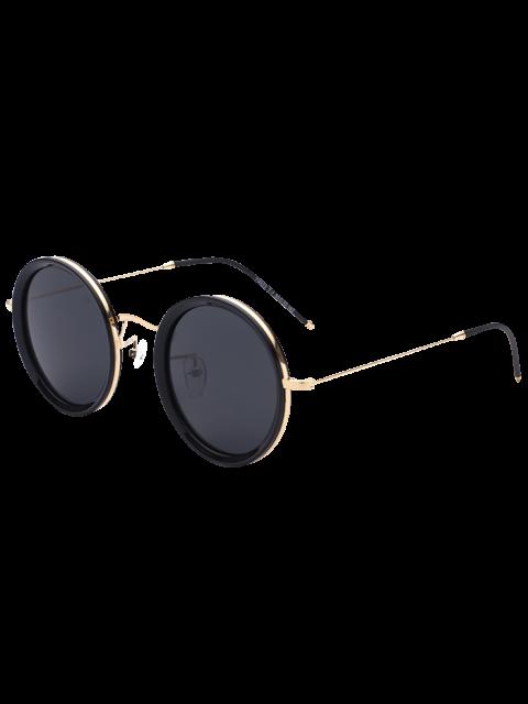 womens Metal Leg Insert Round Sunglasses - BLACK  Mobile