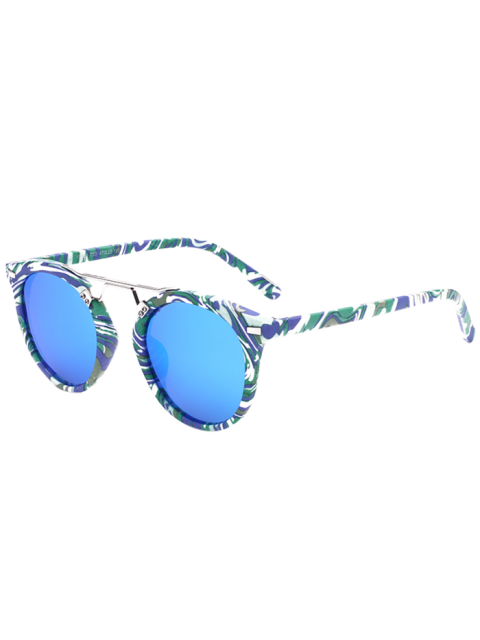 outfits Marble Pattern Mirrored Sunglasses - BLUE  Mobile