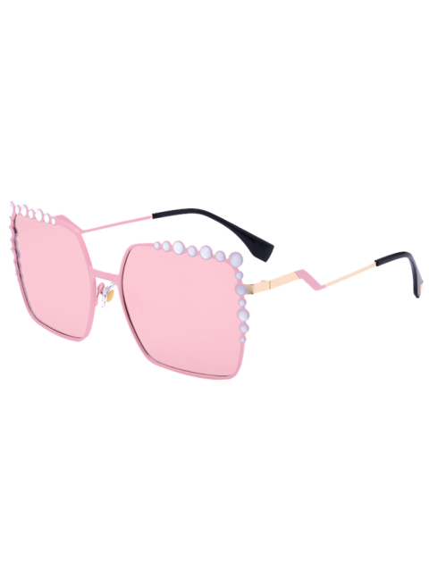 fancy Bubble Shape Insert Oversized Mirrored Sunglasses - PINK  Mobile