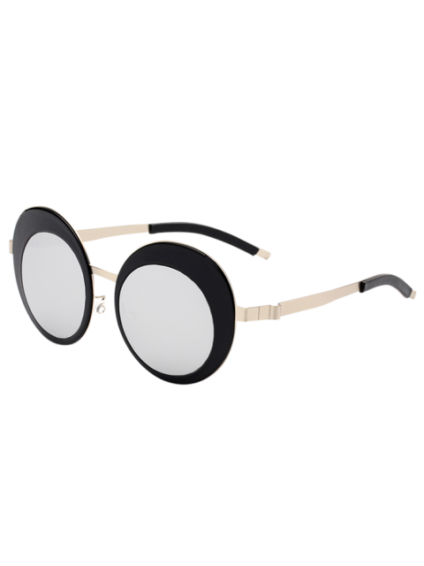 Round Oval Panel Objectif Metallic Mirrored Lunettes de soleil - SILVER  Mobile