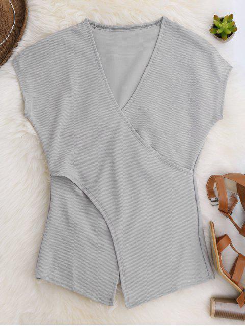 women's Short Sleeve Cross Front Top - GRAY L Mobile