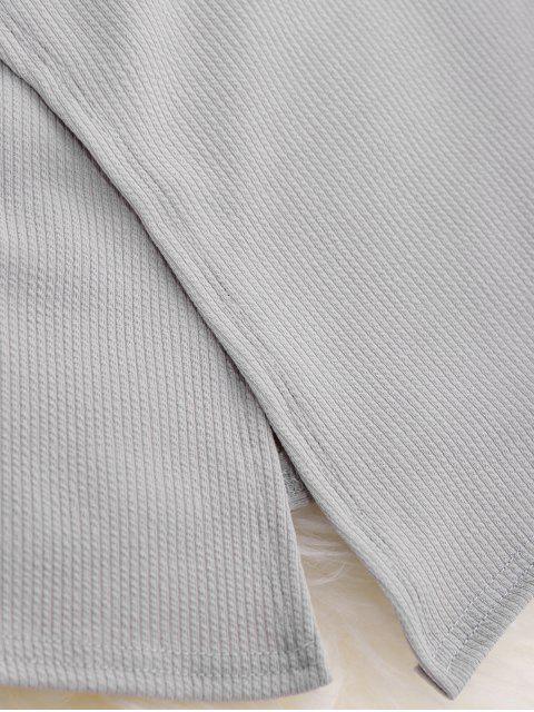 ladies Short Sleeve Cross Front Top - GRAY M Mobile
