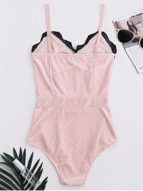 shops Lace Panel Velvet Bodysuit - PINK S Mobile