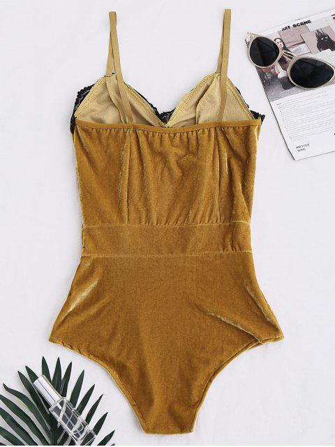 fashion Lace Panel Velvet Bodysuit - COFFEE S Mobile
