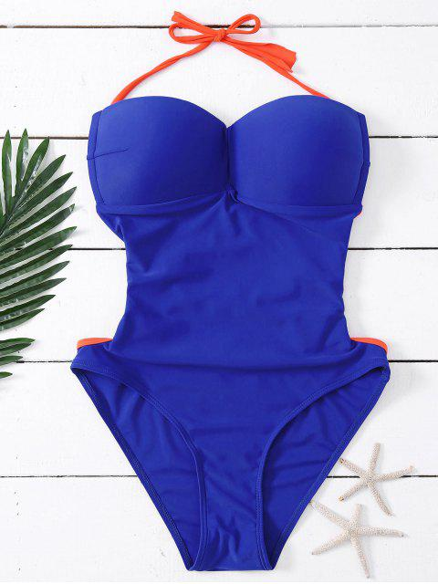 women Bandeau Lace Up One Piece Swimsuit - DEEP BLUE S Mobile