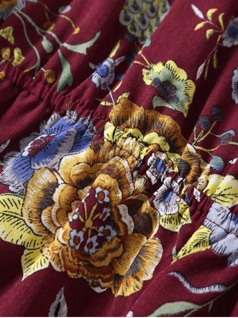 Combishorts à épaules tombantes imprimés de motif floral avec falbalas - Brique M Mobile