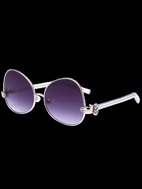 De mano perla de Faux metálicos de gran tamaño gafas de sol - Plata  Mobile