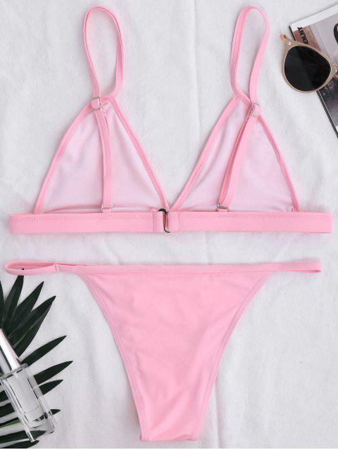 lady Back Closure High Leg Bikini Set - PINK S Mobile