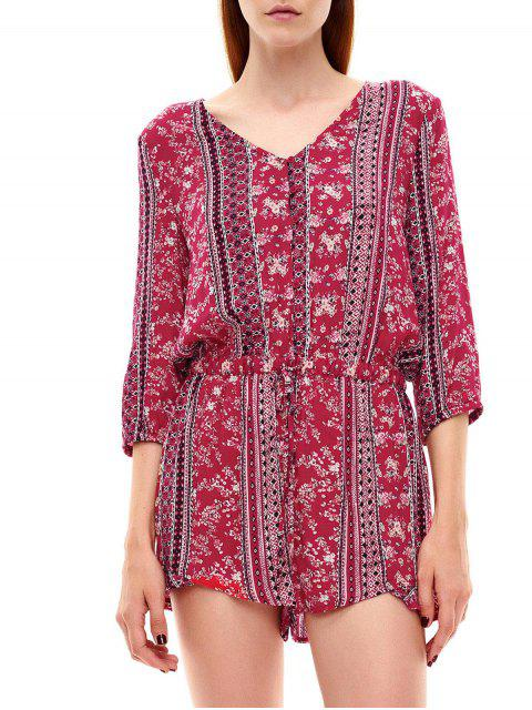 hot Button Up Printed Drawstring Romper - RED S Mobile