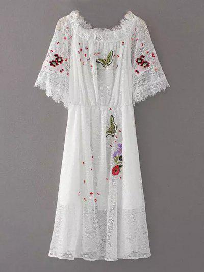 Embroidered Off Shoulder Lace Dress - White S