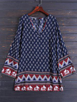 Long Sleeve Zig Zag Printed Dress - Purplish Blue M