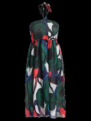 Halter Smocked Imprimió El Vestido De La Gasa De Vacaciones - Verde