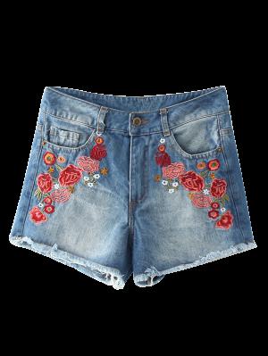 Frayed Hem Floral Embroidered Denim Hot Shorts - Blue S