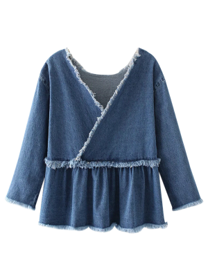 Frayed Ruffle Denim Surplice Top - Denim Blue S