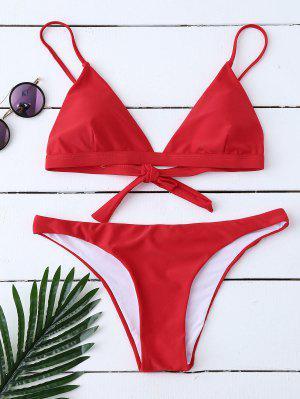 Bikinis Malliot De Bain Paddé Noeud Au Dos - Rouge S