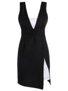 فستان بلا أكمام انقسام  - أسود