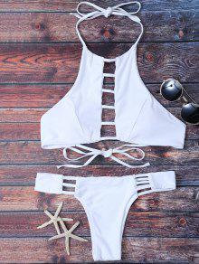 Padded Ladder Cut Bikini Set - White S