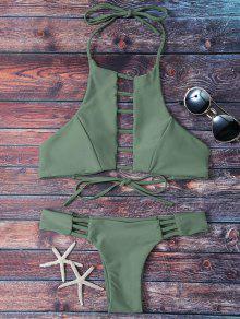 Acolchada Escalera Corte El Conjunto Del Bikini - Grisáceo Verde S