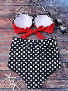 eb1c9fe286e5e 18% OFF] 2019 Polka Dot High Waisted Underwire Bikini In BLACK AND ...