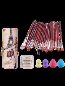 20 Piezas De Maquillaje Cepilla Titular De Ajuste + Mezcladores De Belleza + BB Cream Puffs Air Brush + - Rojo