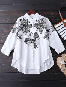 Boyfriend Floral Embroidered Shirt - White M