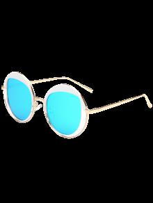 Round Metallic Mirrored Lunettes De Soleil - Bleu Glacé