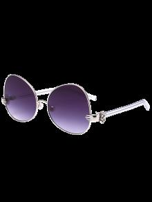 De Mano Perla De Faux Metálicos De Gran Tamaño Gafas De Sol - Plata