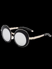 Buy Round Panel Oval Lens Metallic Mirrored Sunglasses - SILVER
