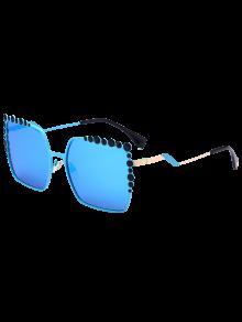 Insertar La Burbuja Forma De Gran Tamaño Gafas De Sol De Espejo - Azul
