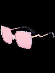 Insertar La Burbuja Forma De Gran Tamaño Gafas De Sol De Espejo - Rosa