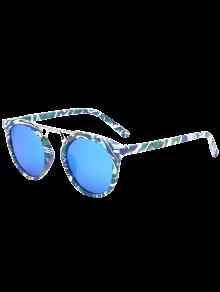 Marbre Motif Mirrored Lunettes De Soleil - Bleu