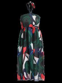 Smocked Halter Printed Chiffon Holiday Dress - Green