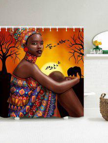 العفن والدليل على دش الستار مع فتاة القبلية الأفريقية طباعة - 150 * 180cm