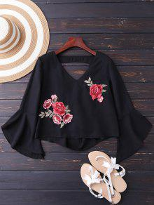 Embroidered Rose Flare Sleeve Low Back Blouse - Black Xl