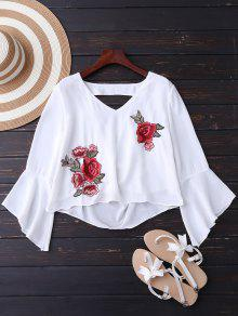Embroidered Rose Flare Sleeve Low Back Blouse - White M